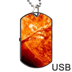 Spectacular Solar Prominence Dog Tag Usb Flash (two Sides)