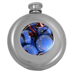 Spheres With Horns 3d Round Hip Flask (5 Oz)