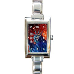 Statue Of Liberty Fireworks At Night United States Of America Rectangle Italian Charm Watch