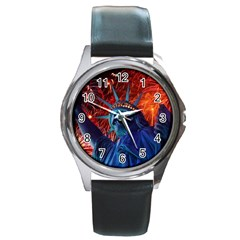 Statue Of Liberty Fireworks At Night United States Of America Round Metal Watch