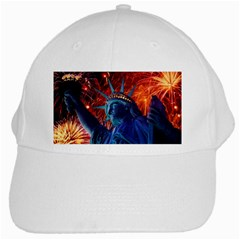 Statue Of Liberty Fireworks At Night United States Of America White Cap