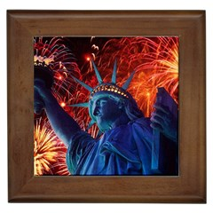 Statue Of Liberty Fireworks At Night United States Of America Framed Tiles