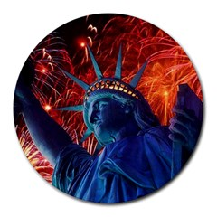 Statue Of Liberty Fireworks At Night United States Of America Round Mousepads