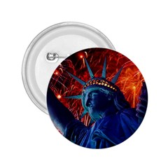 Statue Of Liberty Fireworks At Night United States Of America 2 25  Buttons