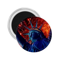 Statue Of Liberty Fireworks At Night United States Of America 2 25  Magnets