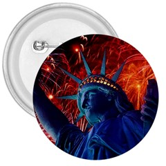 Statue Of Liberty Fireworks At Night United States Of America 3  Buttons