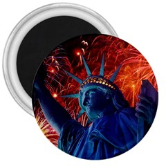 Statue Of Liberty Fireworks At Night United States Of America 3  Magnets