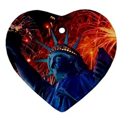 Statue Of Liberty Fireworks At Night United States Of America Ornament (heart)