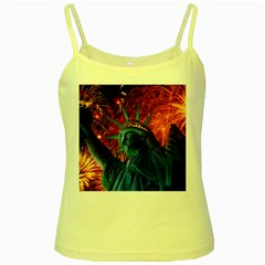 Statue Of Liberty Fireworks At Night United States Of America Yellow Spaghetti Tank
