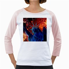 Statue Of Liberty Fireworks At Night United States Of America Girly Raglans