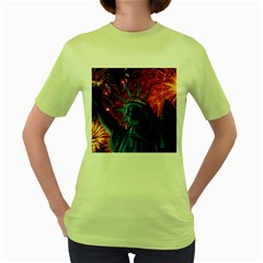 Statue Of Liberty Fireworks At Night United States Of America Women s Green T Shirt