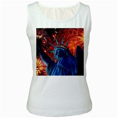 Statue Of Liberty Fireworks At Night United States Of America Women s White Tank Top