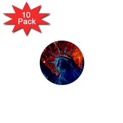 Statue Of Liberty Fireworks At Night United States Of America 1  Mini Buttons (10 Pack)