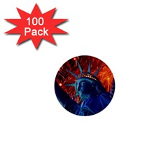 Statue Of Liberty Fireworks At Night United States Of America 1  Mini Buttons (100 Pack)