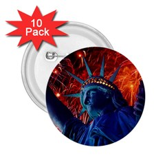 Statue Of Liberty Fireworks At Night United States Of America 2 25  Buttons (10 Pack)