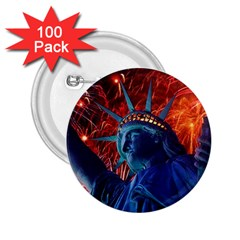 Statue Of Liberty Fireworks At Night United States Of America 2 25  Buttons (100 Pack)