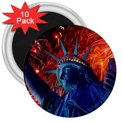 Statue Of Liberty Fireworks At Night United States Of America 3  Magnets (10 Pack)