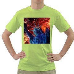 Statue Of Liberty Fireworks At Night United States Of America Green T Shirt