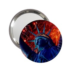 Statue Of Liberty Fireworks At Night United States Of America 2 25  Handbag Mirrors