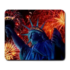 Statue Of Liberty Fireworks At Night United States Of America Large Mousepads