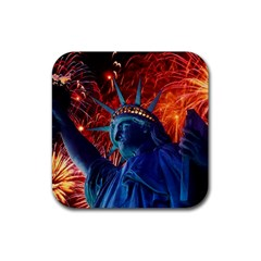 Statue Of Liberty Fireworks At Night United States Of America Rubber Square Coaster (4 Pack)
