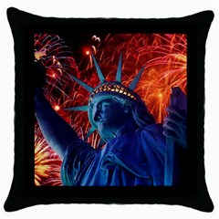 Statue Of Liberty Fireworks At Night United States Of America Throw Pillow Case (black)