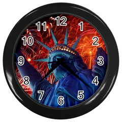 Statue Of Liberty Fireworks At Night United States Of America Wall Clocks (black)