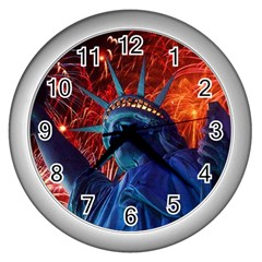 Statue Of Liberty Fireworks At Night United States Of America Wall Clocks (silver)