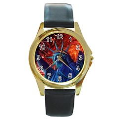 Statue Of Liberty Fireworks At Night United States Of America Round Gold Metal Watch