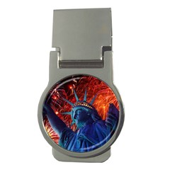 Statue Of Liberty Fireworks At Night United States Of America Money Clips (round)