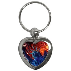 Statue Of Liberty Fireworks At Night United States Of America Key Chains (heart)