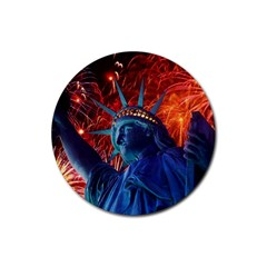 Statue Of Liberty Fireworks At Night United States Of America Rubber Coaster (round)