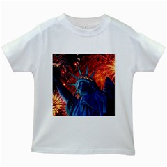 Statue Of Liberty Fireworks At Night United States Of America Kids White T Shirts
