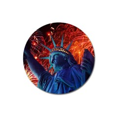 Statue Of Liberty Fireworks At Night United States Of America Magnet 3  (round)