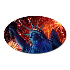 Statue Of Liberty Fireworks At Night United States Of America Oval Magnet