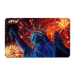 Statue Of Liberty Fireworks At Night United States Of America Magnet (rectangular)