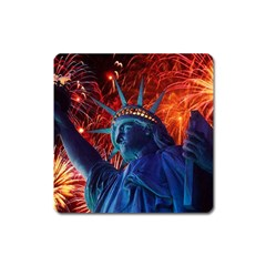 Statue Of Liberty Fireworks At Night United States Of America Square Magnet