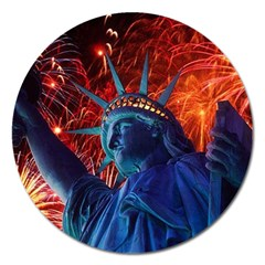 Statue Of Liberty Fireworks At Night United States Of America Magnet 5  (round)