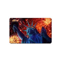 Statue Of Liberty Fireworks At Night United States Of America Magnet (name Card)
