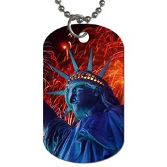 Statue Of Liberty Fireworks At Night United States Of America Dog Tag (one Side)
