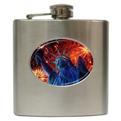 Statue Of Liberty Fireworks At Night United States Of America Hip Flask (6 Oz)