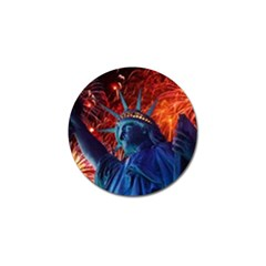 Statue Of Liberty Fireworks At Night United States Of America Golf Ball Marker (10 Pack)