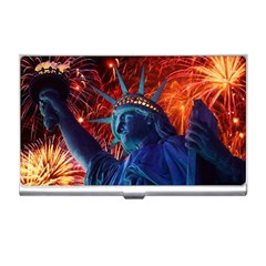 Statue Of Liberty Fireworks At Night United States Of America Business Card Holders