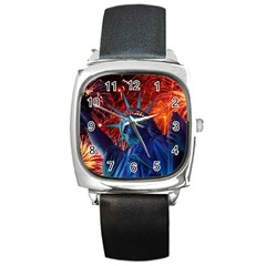 Statue Of Liberty Fireworks At Night United States Of America Square Metal Watch