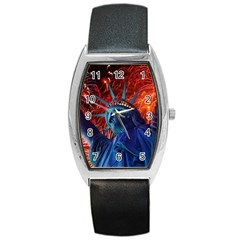 Statue Of Liberty Fireworks At Night United States Of America Barrel Style Metal Watch