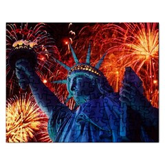 Statue Of Liberty Fireworks At Night United States Of America Rectangular Jigsaw Puzzl