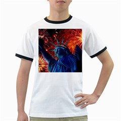 Statue Of Liberty Fireworks At Night United States Of America Ringer T Shirts