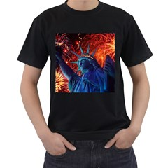 Statue Of Liberty Fireworks At Night United States Of America Men s T Shirt (black) (two Sided)