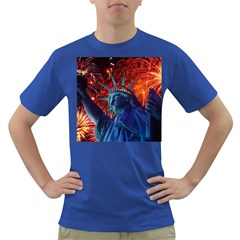 Statue Of Liberty Fireworks At Night United States Of America Dark T Shirt