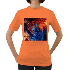 Statue Of Liberty Fireworks At Night United States Of America Women s Dark T Shirt